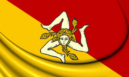 Flag of Sicily, Italy. Stock Photo
