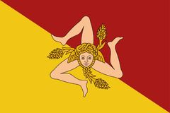 Flag of Sicily vector illustration. Royalty Free Stock Photo