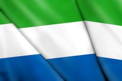 Flag of Sierra Leone. This is an illustration of folded flag Royalty Free Stock Photography