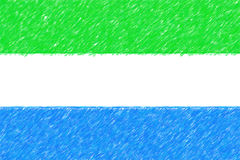 Flag of Sierra Leone background o texture, color pencil effect. Royalty Free Stock Image