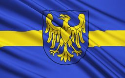 Flag of Silesian Voivodeship in southern Poland. Flag of Silesian Voivodeship or Silesia Province in southern Poland royalty free stock image