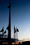 Flag Silhouette at Sunset Royalty Free Stock Photography