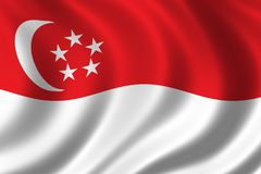 Flag of Singapore. Waving in the wind Royalty Free Stock Photo