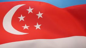 Flag of Singapore. The national flag of Singapore was first adopted in 1959, the year Singapore became self-governing within the British Empire. It was stock footage