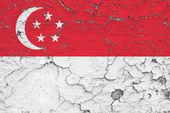 Flag of Singapore painted on cracked dirty wall. National pattern on vintage style surface vector illustration