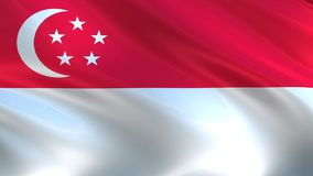 Flag of Singapore waving in the wind. stock video