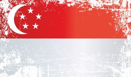 Flag of Singapore. Wrinkled dirty spots. royalty free illustration
