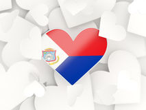 Flag of sint maarten, heart shaped stickers. Background. 3D illustration Royalty Free Stock Images