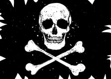 Flag with skull. Vector pirate black flag with white skull and crossbones, grunge style illustration Royalty Free Stock Photos