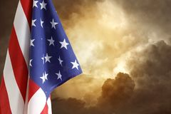 Flag and sky. American flag in the sky Stock Photos