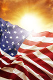 Flag and sky. American flag in the sky Royalty Free Stock Photos