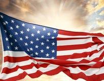 Flag and sky. American flag in the sky Stock Photos