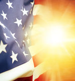 Flag and sky. American flag in bright sky Stock Photos