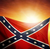 Flag and sky. Confederate flag in front of bright sky Stock Photos