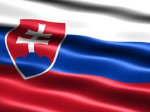 Flag of Slovakia. Computer generated illustration of the flag of Slovakia with silky appearance and waves Stock Photos