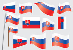 Flag of Slovakia. Set of flags of Slovakia vector illustration Stock Images