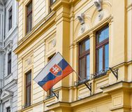 Flag of Slovakia outdoor on building facade Stock Image