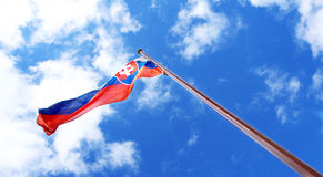Flag of Slovakia on pole Stock Photography
