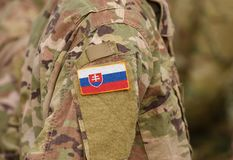 Flag of Slovakia on soldiers arm collage stock images