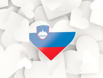 Flag of slovenia, heart shaped stickers Royalty Free Stock Photography