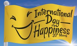 Flag with Smiling Face to Celebrate International Day of Happiness, Vector Illustration. Banner with a waving yellow flag with a beautiful sky view to celebrate royalty free illustration