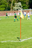 Flag on soccer field Royalty Free Stock Photo