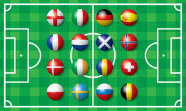 Flag of soccer football in Europe Stock Images