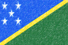 Flag of Solomon Islands background o texture, color pencil effec Royalty Free Stock Photos