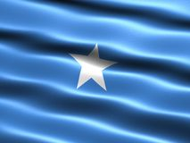Flag of Somalia. Computer generated illustration with silky appearance and waves vector illustration
