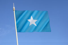 Flag of Somalia. Adopted on 12th October 1954. Upon reunification of Italian Somaliland and British Somaliland, the flag was used for the new independent Royalty Free Stock Photography
