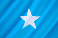 Flag of Somalia. Adopted on 12th October 1954. Upon reunification of Italian Somaliland and British Somaliland, the flag was used for the new independent Royalty Free Stock Image