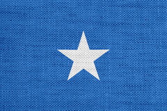 Flag of Somalia on old linen. Colorful and crisp image of flag of Somalia on old linen Royalty Free Stock Photo