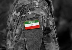 Flag of Somaliland on soldiers arm. Somaliland flag on military. Uniform. Army, troops, Africa collage stock photo