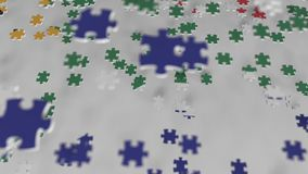 Flag of South Africa being made with jigsaw puzzle pieces. RSA problem solution conceptual 3D animation. Flag made of puzzle pieces, conceptual 3D stock video footage