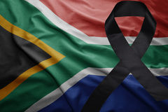Flag of south africa with black mourning ribbon Stock Images