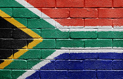 Flag of South Africa on brick wall Royalty Free Stock Image