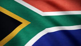 Flag of South Africa gently waving in the wind. South Africa Country flag animation stock footage.  Royalty Free Stock Photography