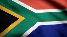 Flag of South Africa gently waving in the wind. South Africa Country flag animation stock footage.  Stock Photo
