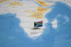 The Flag of south africa in the world map stock images
