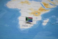The Flag of south africa in the world map royalty free stock photos