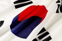 Flag of South Korea. Extreme close up shot of wavy South Korean flag stock photo