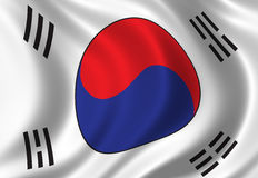 Flag of South Korea. Waving in the wind Royalty Free Stock Photography