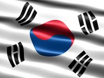Flag of South Korea. Computer generated illustration with silky appearance and waves royalty free illustration