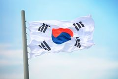 Flag of South Korea. Against the background of the sky stock photos