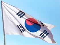 Flag of South Korea against the blue sky.  stock image