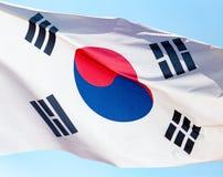 Flag of South Korea against the blue sky.  stock photography