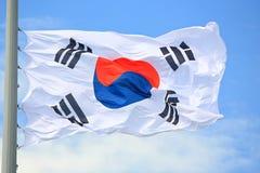Flag of South Korea. Against the sky stock photos