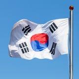 Flag of South Korea, also known as Taegukgi. Flag of South Korea, also known as the Taegukgi waving on a flagpole royalty free stock image
