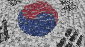 Flag of South Korea being made with jigsaw puzzle pieces. Korean problem solution conceptual 3D rendering. Flag made of puzzle pieces, conceptual 3D vector illustration