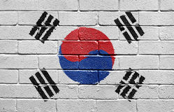 Flag of South Korea on brick wall Stock Image